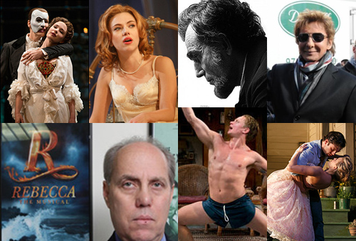 Clockwise from top left: Phantom of the Opera, Scarlett Johansson in Cat on a Hot Tin Roof, Daniel Day-Lewis as Lincoln, Barry Manilow, scene from Picnic, Rebecca producer Ben Sprecher