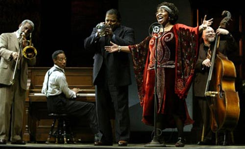 "Anthony Mackie (second from left, playing the piano) in his Broadway debut in ""Ma Rainey's Black Bottom"""