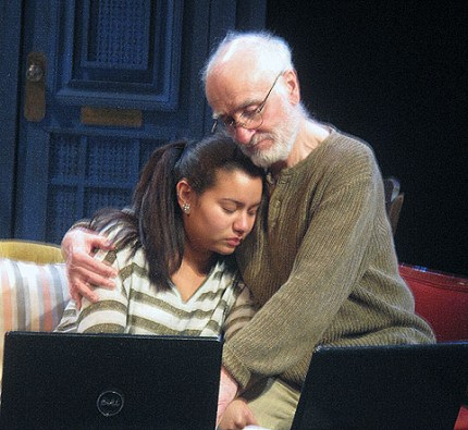 """Yusef Bulos as Jidda comforts his granddaughter Rania, played by Mariel Suriel in the world premiere of """"After"""" at York College"""