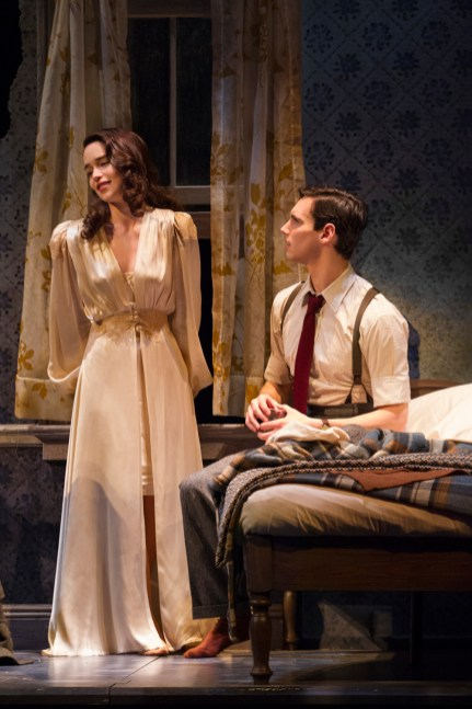 "Emilia Clarke as Holly Golightly and Cory Michael Smith as ""Fred"" in Breakfast at Tiffany's on Broadway"