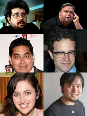 Playwrights participating in the One Minute Play Festival at The Brick include (top to bottom, left to right) Neil LaBute, Mike Daisey, Kristoffer Diaz, Greg Kotis,  Rachel Axler, Qui Nguyen,