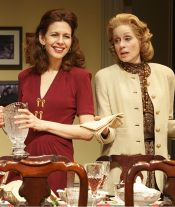 """Jessica Hecht and Judith Light in Richard Greenberg's """"The Assembled Parties"""" on Broadway"""