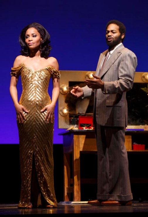 Diana Ross (Valisia LeKae) and Berry Gordy Jr. (Brandon Victor Dixon) in Motown The Musical on Broadway