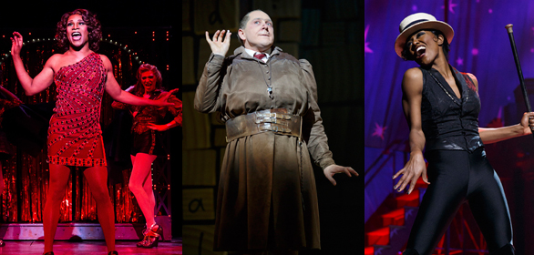 Shows with the great number of Tony Award nominations, left to right: Kinky Boots (13), Matilda (12), Pippin (10)