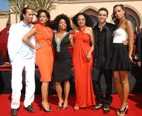 Diana Ross with her five children. Rhonda Ross Kendrick, her daughter with Berry Gordy Jr., is standing to Diana's immediate right.