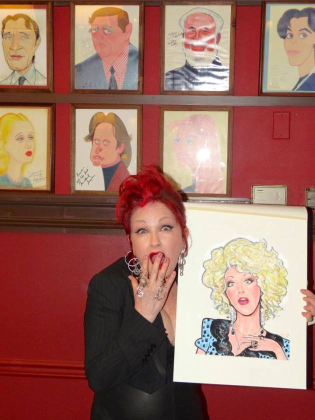 Cyndi Lauper Gets A Caricature At Sardisand Changes Hair Color