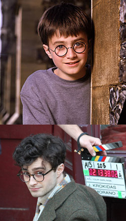 Daniel Radcliffe as Harry Potter in 2001, above, and as Allen Ginsberg in 2013.