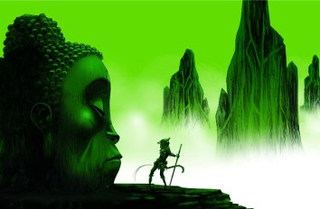 Monkey: Journey to the West, illustration by Jamie Hewlett, Buddha-Head-flat