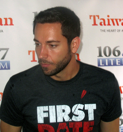 Zachary Levi of First Date, backstage at Broadway in Bryant Park
