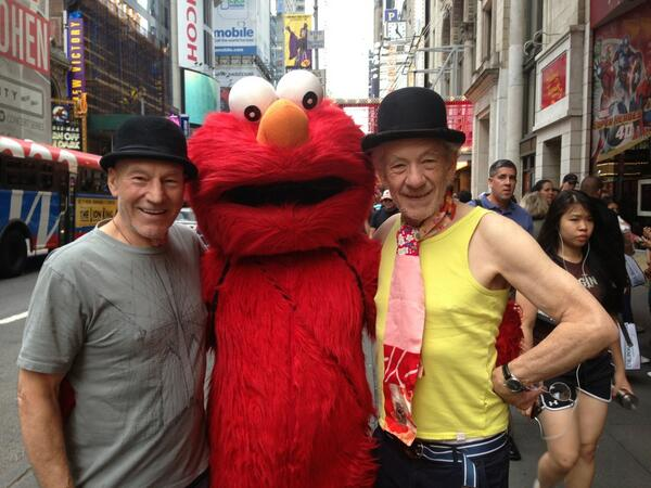 Sir Patrick Stewart and Sir Ian McKellen pose with Elmo in Times Square, while in New York to perform in Beckett's Waiting for Godot and Pinter's No Man's Land. They also posed in front of such NYC landmarks as a pile of big black plastic garbage bags curbside. Not the weirdest theater event of the decade.