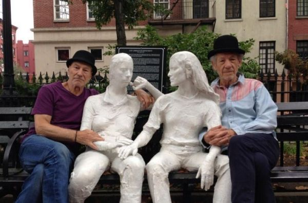 at the Gay Liberation statue by George Segal In Sheridan Square