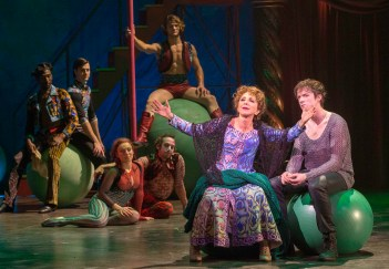 "Pippin: Andrea Martin as Berthe the grandmother sang ""No Time At All,"" which was lively, but what was magical is that half of the time she was singing it upside down from a trapeze. Martin, 66, stripped off granny outfit you see here, revealing the skimpy, sexy circus performer's get-up underneath , and in mid-air slithered athletically and seductively around a muscular trapeze artist easily half her age. She also led the audience in a sing-along."