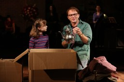 "Fun Home: When the adult Alison (Beth Malone) rummages through a box full of an antique teapot and other belongings of her long-dead father – and her father (Michael Cerveris) is looking through an identical box with the identical items with ""Small Alison"" – another actress (Sydney Lucas) playing Alison as a child. A neighbor threw out these items thinking they were junk, but Alison's father realizes they are treasures – that old piece of cloth is gorgeous Irish linen; that tarnished teapot is silver:"