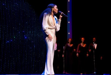 """Motown: Valisia LeKae portrayed Diana Ross in Motown, in dozens of wigs and dresses. In the scene that recreates Diana's first solo concert, apart from the Supremes, LeKae invited members of the audience to come sing """"Reach Out and Touch"""" with her, and a magical fusion took place: Diana Ross was there but so was LeKae, graceful and gracious, funny and charismatic."""