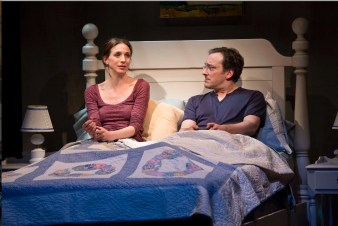 "Marin Hinkle and Jeremy Shamos play a married couple who learn their best friends are divorcing in ""Dinner With Friends."" There is a scene (not this one) in which they talk about their fears about their own marriage while they prepare for bed, folding a bedspread in perfect unison like some kind of two-man Olympic team, so practiced in the act that they are unaware of it."