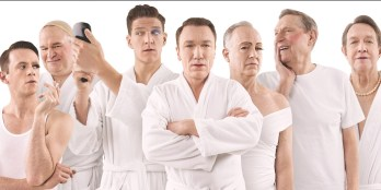 The cast of cross-dressers in Casa Valentina, l to r: Nick Westrate, Tom McGowan, Gabriel Ebert, Patrick Page, Reed Birney, John Cullum, Larry Pine, (This is a publicity shot. No such scene is in the play.)