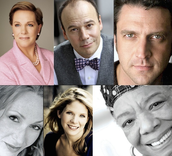 In this month's quiz questions: Julie Andrews, Danny Burstein, Raul Esparza top row; Jan Maxwell, Kelli O'Hara, Maya Angelou