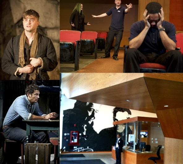 Left to Right: Daniel Radcliffe, James Franco, scene from The Flick, Pershing Square Signature Theatre