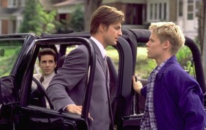 Scene from Queer as Folk: Hal Sparks, Gale Harold, and Randy Harrison