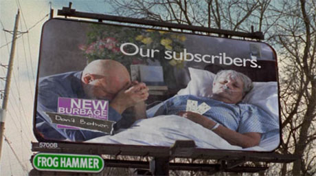 Anti-elderly billboard in Slings & Arrows, satirizing ageism in the theater (stAgeism)