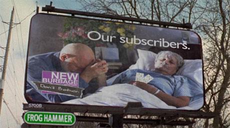 Anti-elderly billboard in Slings & Arrows, satirizing ageism in the theater (stAgeism)