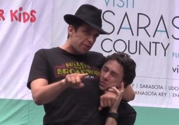 Zach Braff and Nick Cordero perform from Bullets Over Broadway in Bryant Park shortly before the show closes on Broadway, 2014