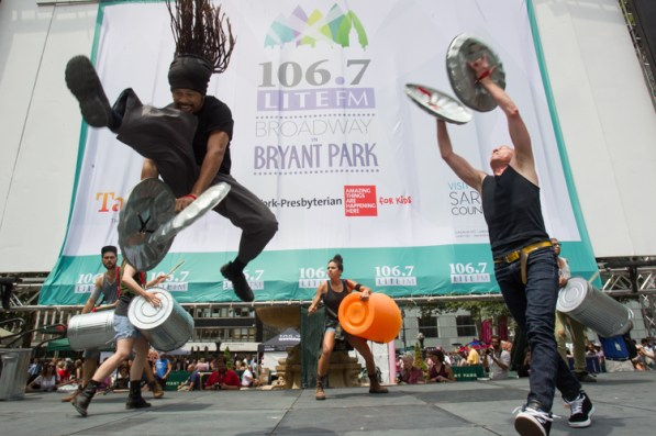 Stomp, perennial favorite at Broadway in Bryant Park,