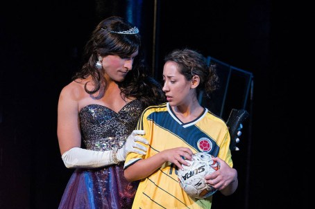 Jerreme Rodriguez as Reina, a Colombian drag queen and Brandi Bravo as Alex, a tomboy, Angela's daughter
