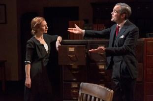 Julia Coffey as Miss Janus and Stephen Plunkett as Mr. Brewer