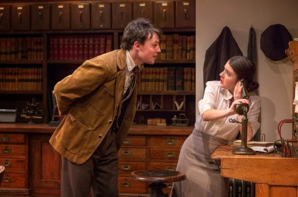 Christopher Sears as awkward suitor Hec to Elise Kibler as new office worker Pat Mulligan in London Wall