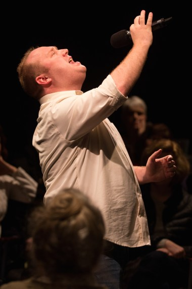 Every Brilliant Thing, when Jonny Donahoe asks a member of the audience to portray the character that Donahoe has been playing when he was a child, and Donahoe plays his father. The audience member, an older man when I saw the show, just kept on asking why and was transformed before our eyes into a child, as Donahoe patiently answered increasingly cosmic questions.