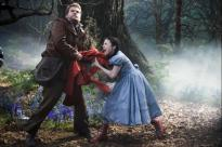 The Baker (James Corden) and Little Red (Lilla Crawford)