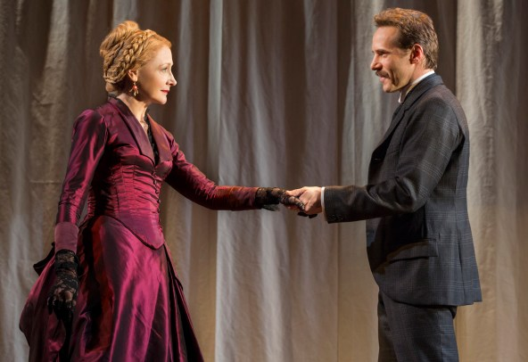 As the actress Mrs. Kendal, Patricia Clarkson slowly undresses for John Merrick (Bradley Cooper), who, repulsively deformed, has never seen or touched a woman.