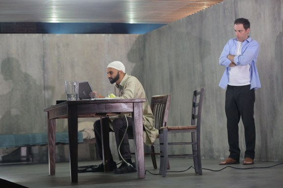 Usman Ally and Justin Kirk in NYTW's THE INVISIBLE HAND - Photo by Joan Marcus