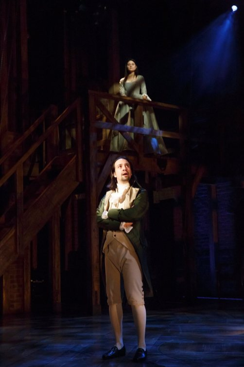 Lin-Manuel Miranda and Phillipa Soo as Mr. and Mrs. Alexander Hamilton