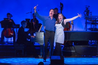 Heidi Blickenstaff and James Clow singing A Little Priest from Sweeney Todd