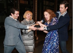"Anika Larsen and her co-stars Jarrod Spector, Jessie Mueller and Jake Epstein  jokingly grapple over the Grammy that the ""Beautiful"" cast album just won for best musical theater album."