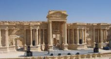 Roman Theater of Palmyra in the Syrian Desert. The incomplete theater dates back to the 2nd century