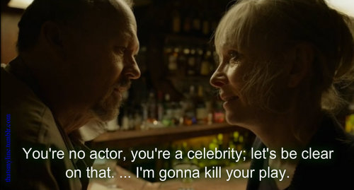 Confrontation between Broadway director Riggan Thomas (Michael Keaton) and New York Times theatre critic Tabitha Dickinson (Lindsay Duncan) in Alejandro González Iñárritu's Birdman