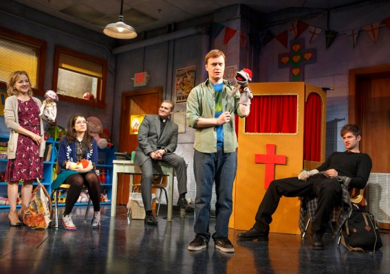 HandtoGod5Geneva_Carr__Sarah_Stiles__Marc_Kudisch__Steven_Boyer_and_Michael_Oberholtzer_in_a_scene_from_HAND_TO_GOD_on_Broadway_-_Photo_by_Joan_Marcus