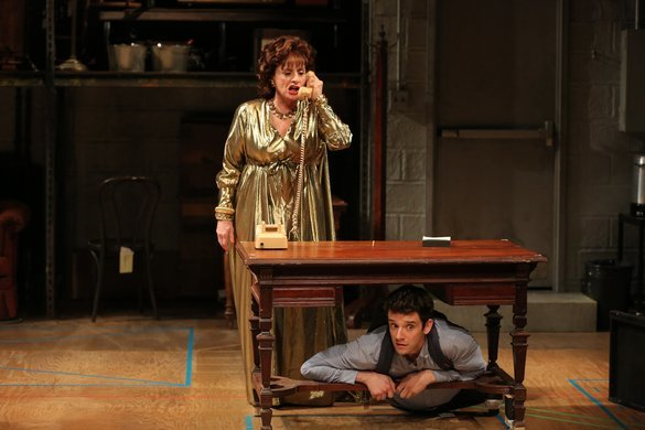 Patti LuPone with Michael Urie hiding under the table in Shows for Days, Off-Broadway 2015