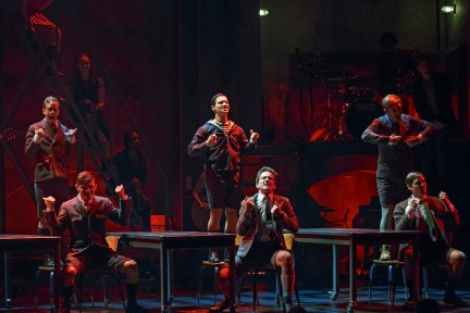 (seated left to right) Joshua Castille, Austin P. McKenzie, Daniel N. Durant, standing Alex Wyse, Miles Barbee, Andy Mientus