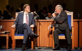 Andrew Garman as Pastor Paul and Philip Kerry as church elder Jay