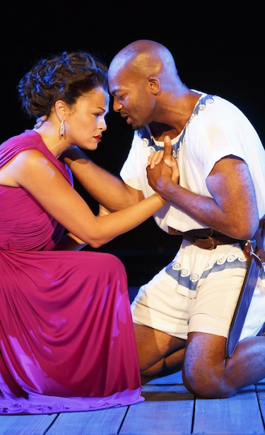 Karen Olivo and Brandon Victor Dixon in The Odyssey, with a cast of 200.