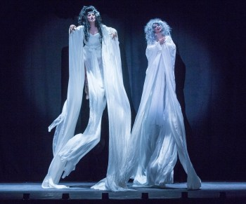 """From left: Joey Arias and Julie Atlas Muz in Basil Twist's """"Sisters' Follies"""": Between Two Worlds"""