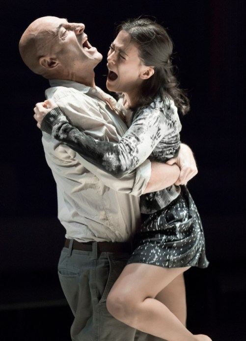 When Phoebe Fox as Catherine jumps into the arms of Mark Strong as Eddie Carbone, we are struck by several things at once -- how much bigger he is than she; how childish she acts; how somehow inappropriate their physical interaction seems. In that early moment in A View from the Bridge, we are get a succinct foreshadowing of the tragedy that is at the heart of Arthur Miller's play -- Eddie's lack of awareness of his attraction to his surrogate daughter.
