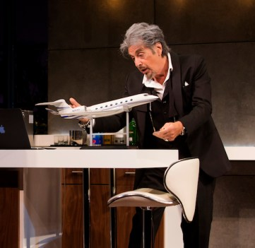 Al Pacino in China Doll with a model of the $60 million airplane he just bought