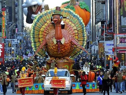The turkey float in the Thanksgiving Day parade