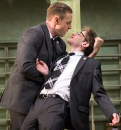 Noah Robbins as the bullied Chadwick with Will Pullen in Simon Stephens' Punk Rock, MCC Theater, 2014