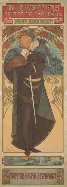 The famous poster of Bernhardt as Hamlet created by Alphonse Mucha (portrayed by Matthew Saldivar in Bernhardt/Hamlet)